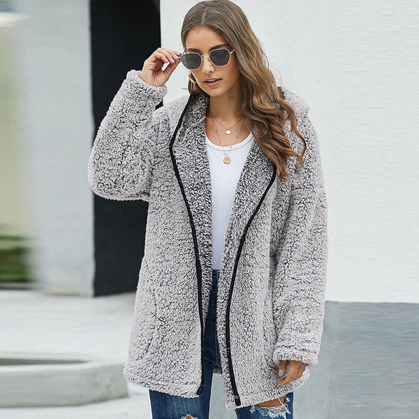 Hooded thick loose zip coats with pockets