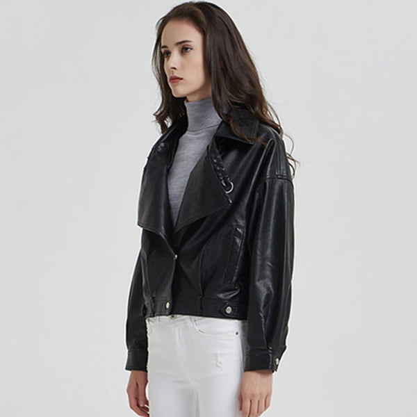 Faux leather turn-down collar cropped jackets - Fancyever