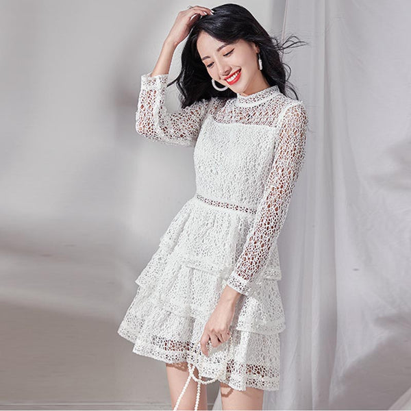 Mock neck lace patchwork mini dresses
