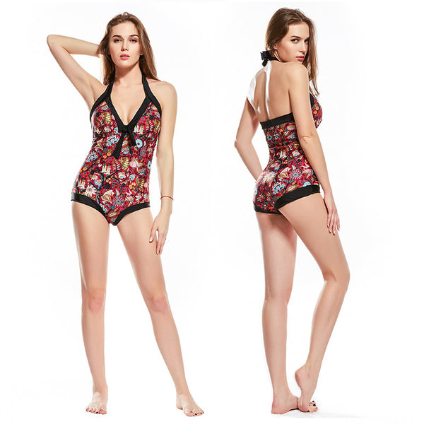 Floral halter neck swimsuits