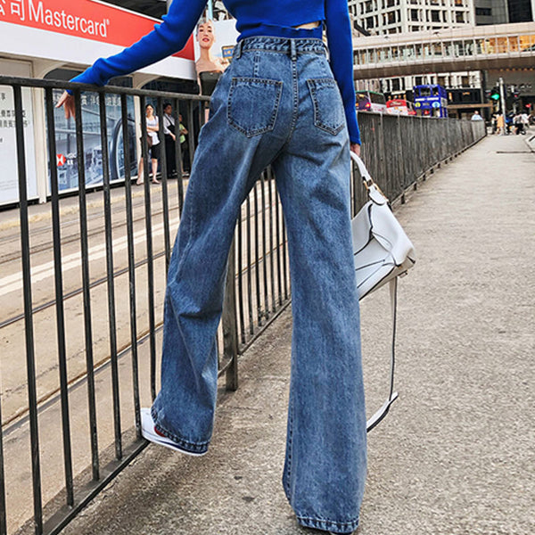 High waisted wide leg jean pants - Fancyever