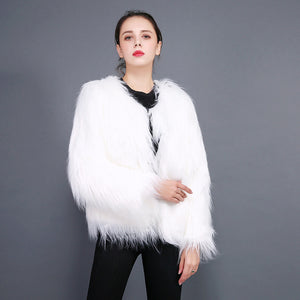 Plus size fluffy faux fur coats