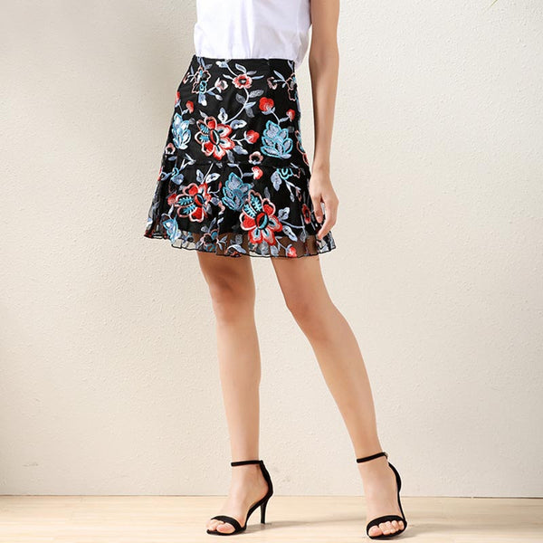 Embroidered mesh lace a-line skirts