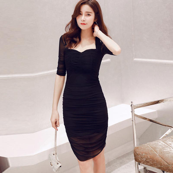 Square neck ruched bodycon dresses