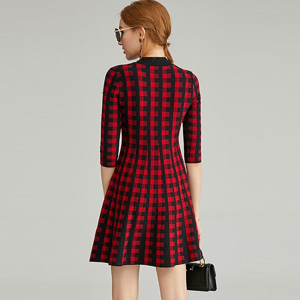 Mock neck plaid half sleeve mini dresses