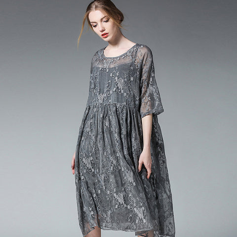 Stylish embroidery loose dresses with cami-Fancyever