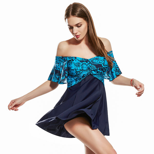 V-neck print cover-up swimwear - Fancyever