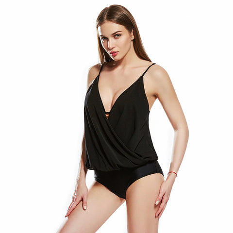 Black v-neck gathered swimsuits - Fancyever