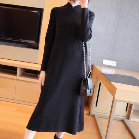 Mock neck solid soft sweater shift dresses