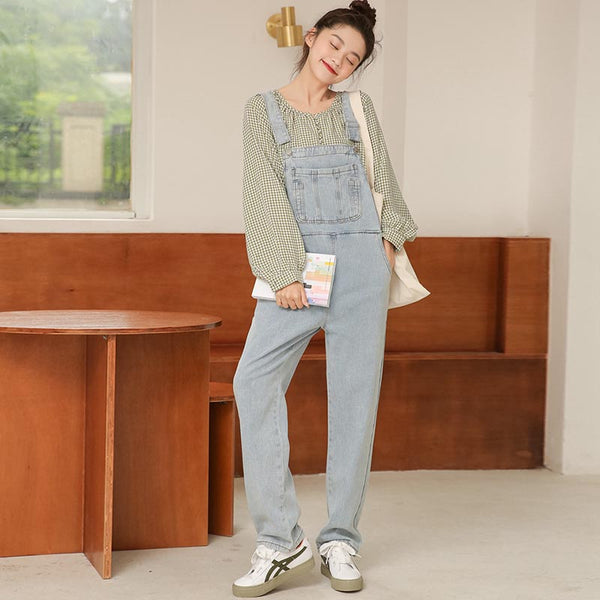 Solid color straight overalls with pockets