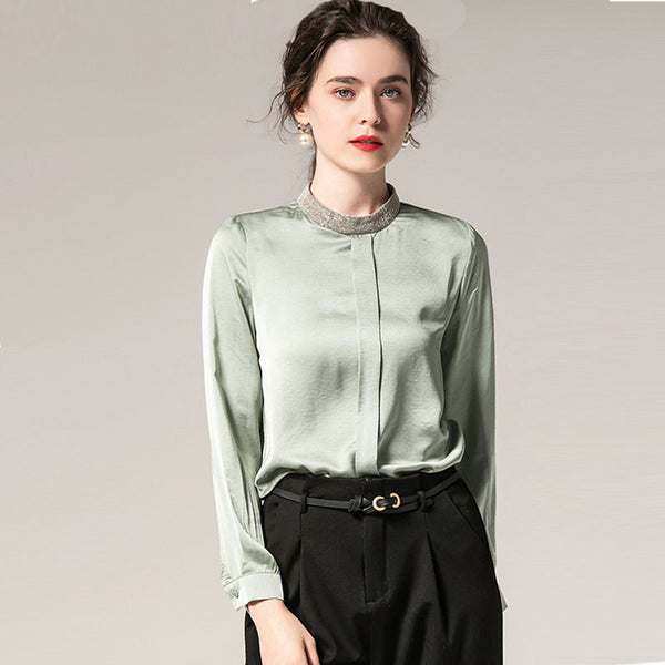 Stand collar pullover blouses