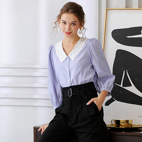 Turn-down collar puff sleeve striped blouses