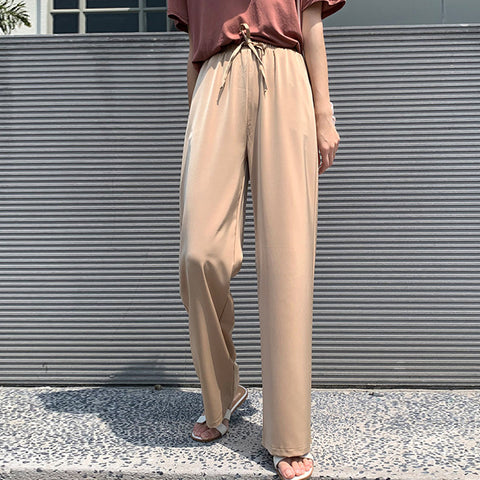 High waisted draped wide leg pants