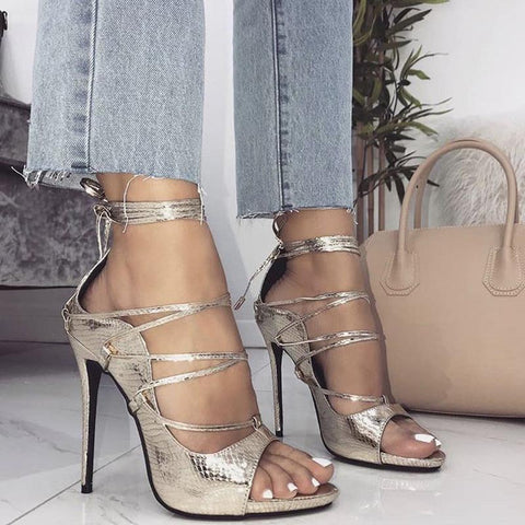 Snake print ankle-tied sandals