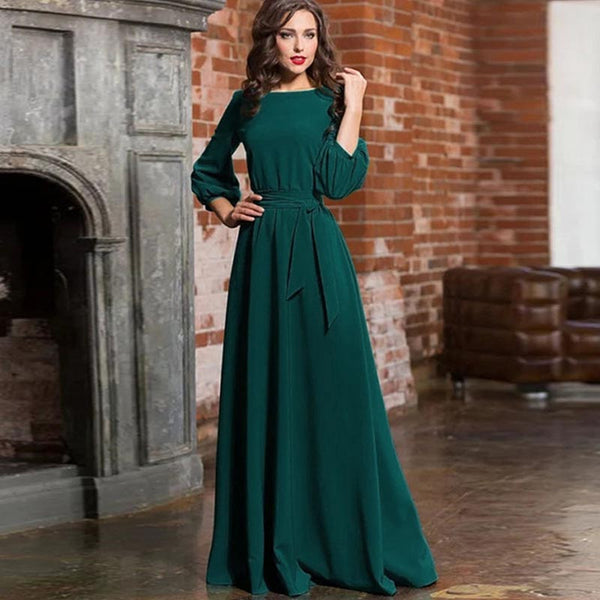 Boat neck solid bowknot big hem maxi dresses