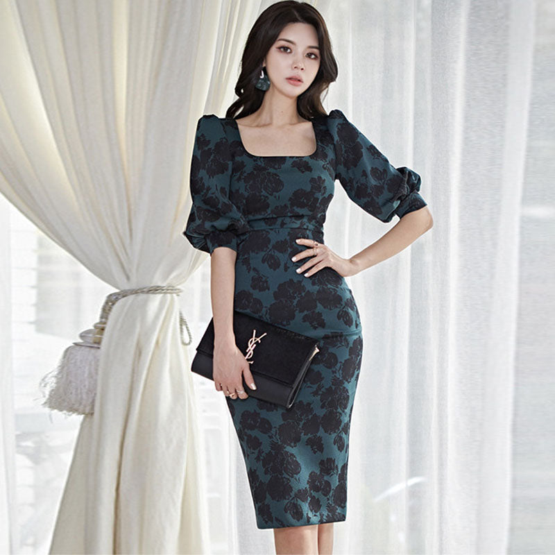 Vintage square neck gathered waist floral bodycon dresses