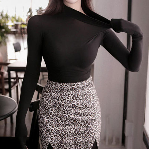 Solid turtleneck long sleeve cropped tops