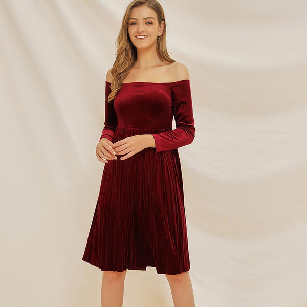 Velvet off-the-shoulder pleated skater dresses