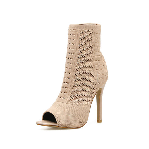 Peep toe openwork solid high heel ankle boots
