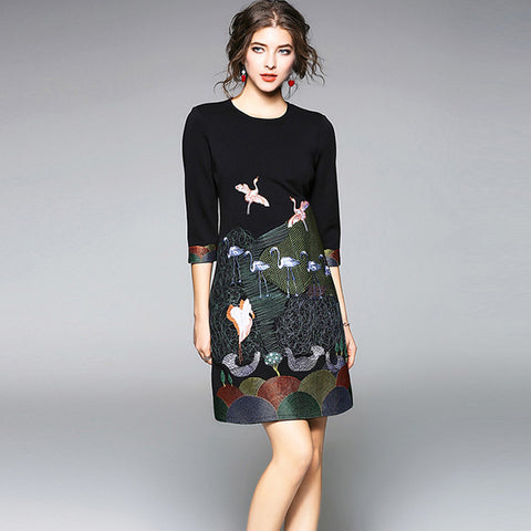 Black 3/4 sleeve print dresses - Fancyever