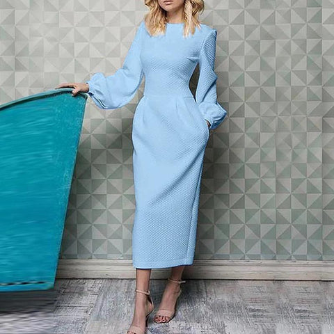 Textured lanter sleeve bodycon dresses with side pockets