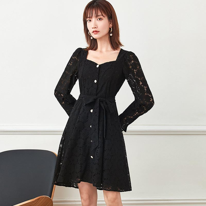 Square neck openwork lace skater dresses