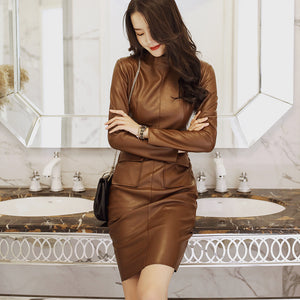 Mock neck high waisted bodycon dresses