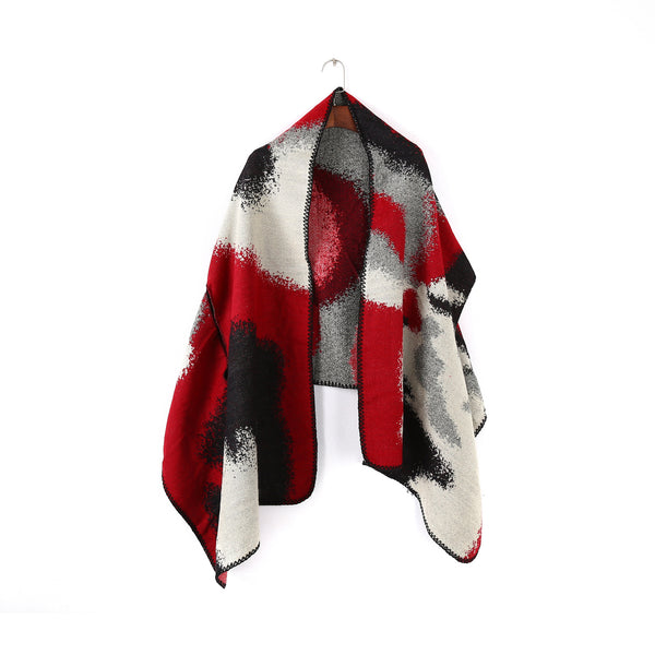 Color-blocked geometric shawls scarves