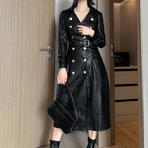 Lapel solid double breasted shearling coats