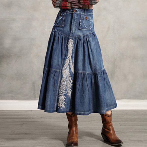 Denim embroidered high waisted skirts