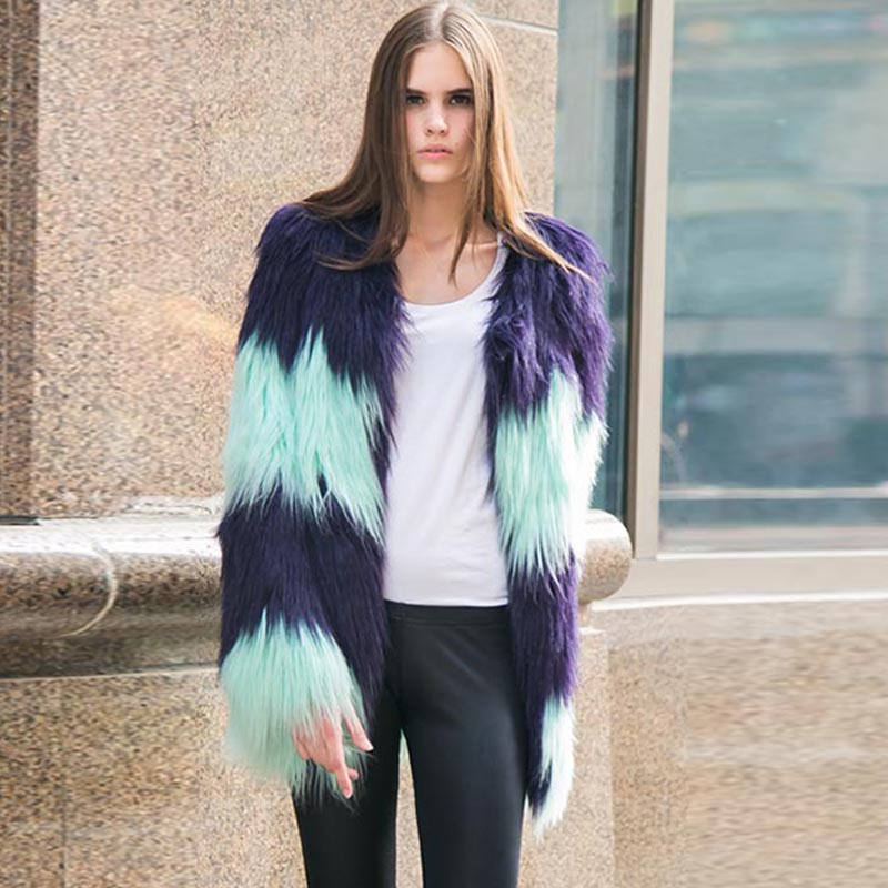 Color-blocked faux shearling coats