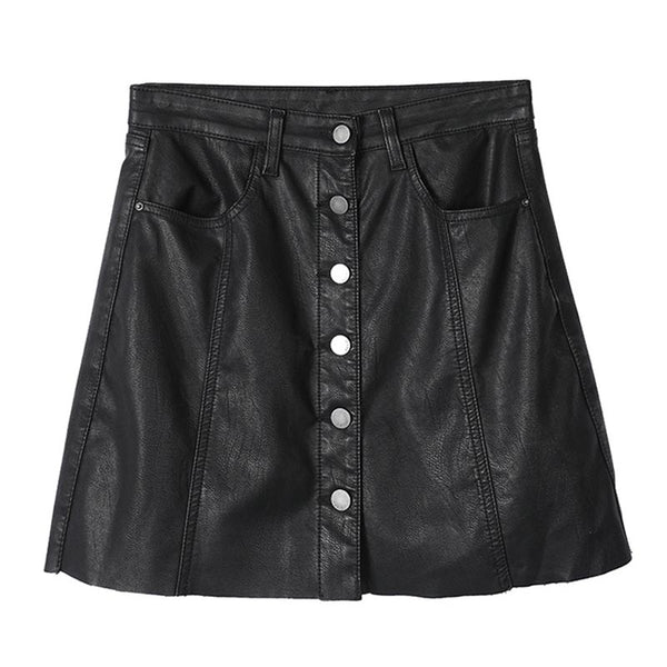 Faux leather buttoned mini skirts