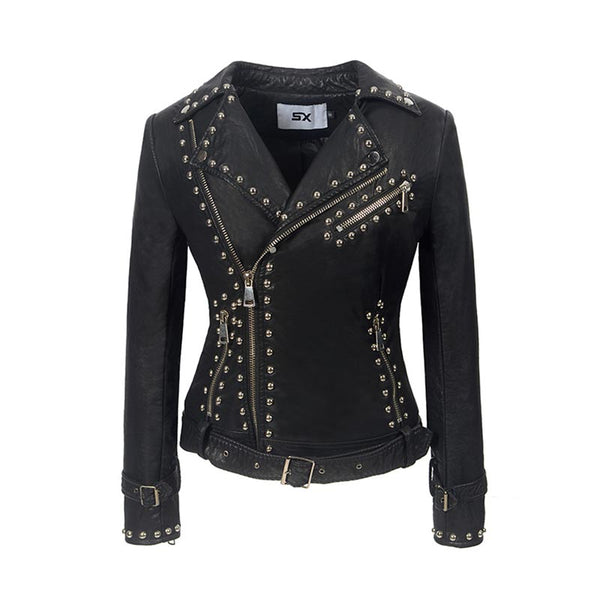 Rivet zipper moto biker faux lether jackets - Fancyever