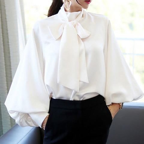 Mock neck with front tie fitted blouses