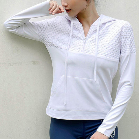 Hooded solid sport tops with pockets