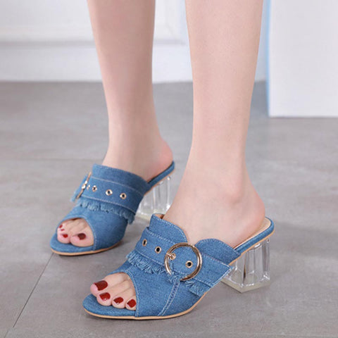 Denim transparent heel slippers