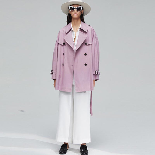 Cotton belted notched short trench coats - Fancyever