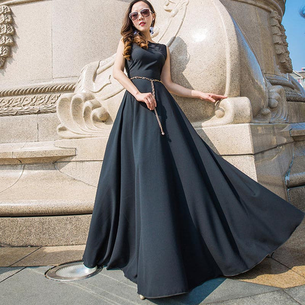 Black sleeveless evening party dresses
