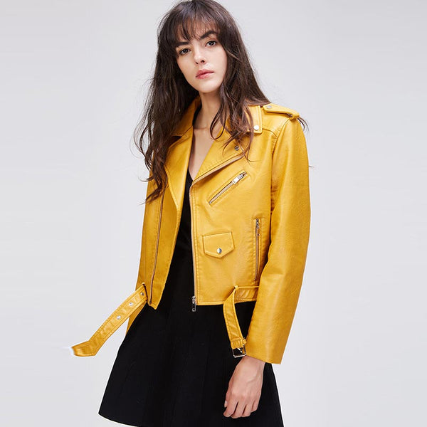 Asymmetrical faux-leather moto jackets - Fancyever