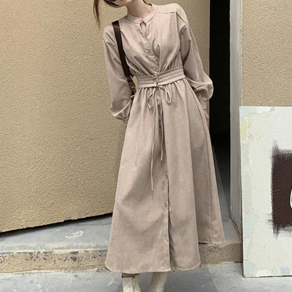 Front button stylish gathered waist belted maxi dresses