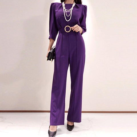 Crew neck solid office winter pant suits