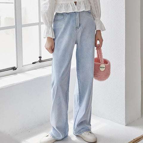 Washed casual wide leg pants