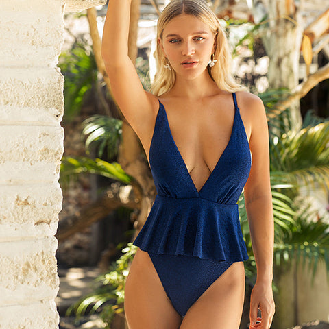 Sexy cross over back shine plunging one-piece swimwear
