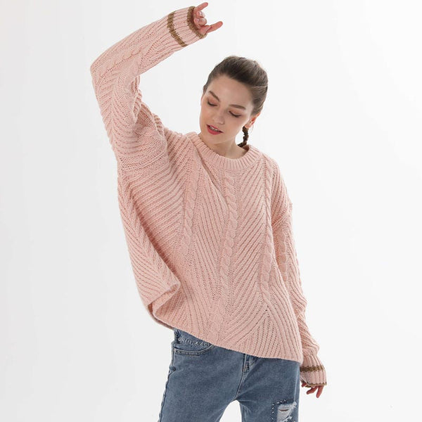 Color-blocked cable-knit loose sweaters