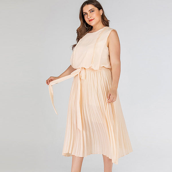 Chiffon sleeveless belted pleated dresses - Fancyever
