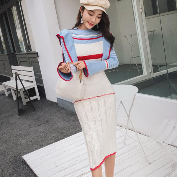 Flare sleeve color block sweater dresses