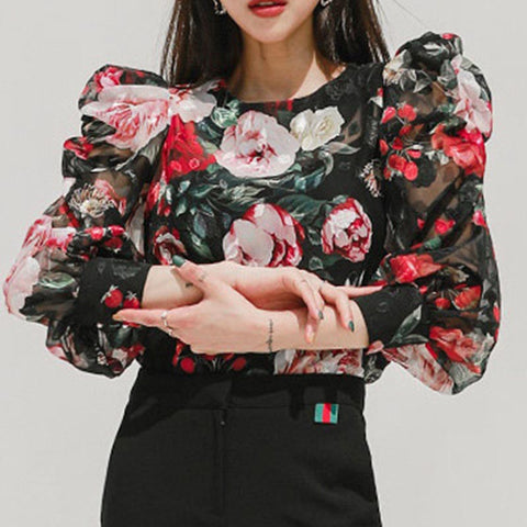Crew neck floral puff sleeve fitted blouses