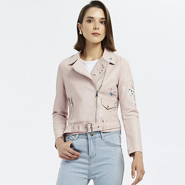 Embroidered belted faux leather moto jackets - Fancyever