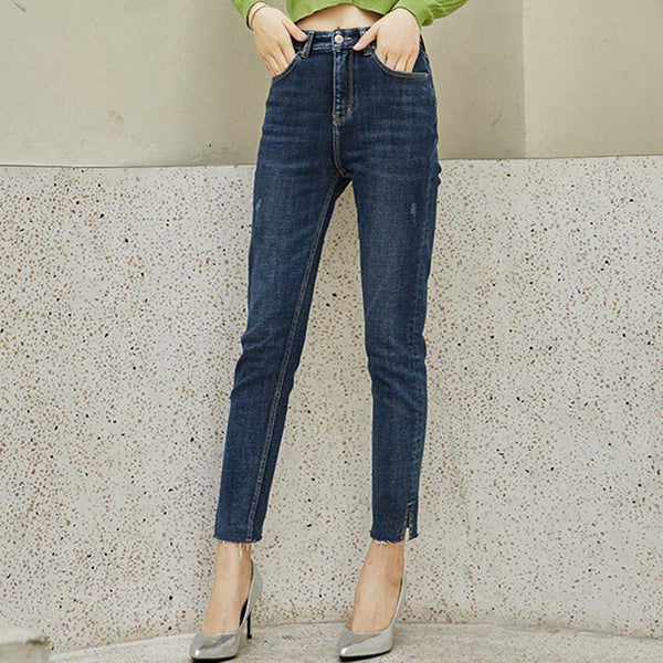 Denim high waisted slit skinny pants