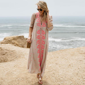 Embroidered v-neck drawcord maxi dresses